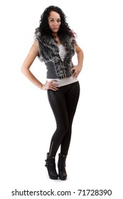 Studio full length body shot of beautiful fashionable brunette woman