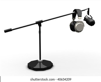 Studio Headphones and microphone on boom isolated on white