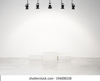 studio interior with empty podium