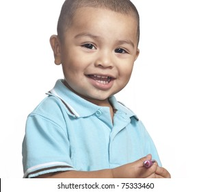 Studio isolated photo of smiling little toddler boy