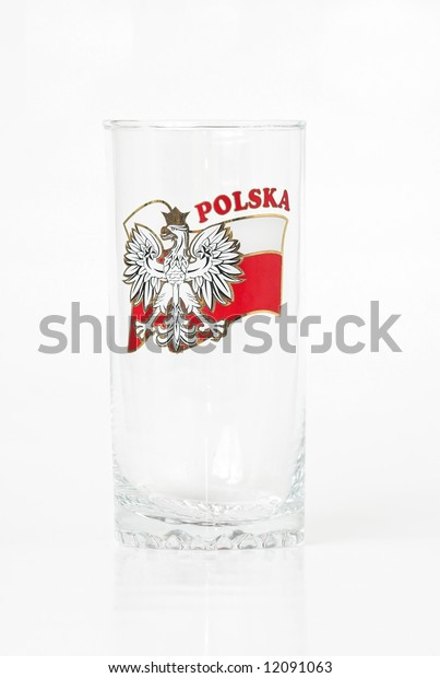 Studio isolated tall long drink glass decorated with Polish flag