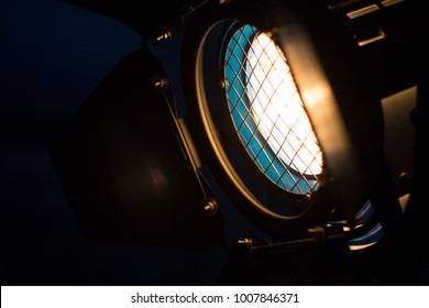 Studio led lighting . vintage production for movie in dark room . electric equipment for photography , video maker