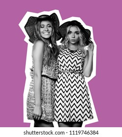 Studio lifestyle portrait of two best friends  girls wearing stylish summer dress and straw hats,  having great time together.