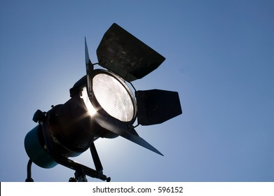 Studio light on location for movie scene.