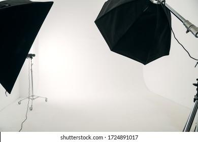 studio light on white cyclorama