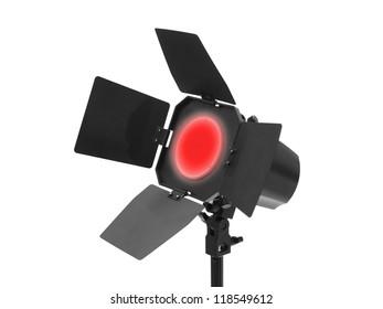 Studio lighting equipment isolated against a white background