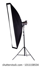 Studio lighting isolated on white background. Pulse studio flash with a square softbox. Professional equipment for photogrphers.