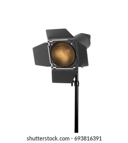 Studio lighting isolated on a white background. Professional flash and lighting. Studio spotlight. Photo equipment.