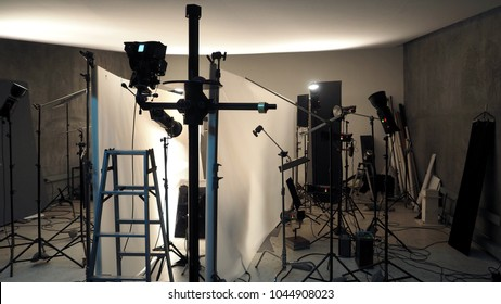 Studio lighting setup for photo shooting production with many equipment such as softbox backdrop paper & Behind Scenes Shooting Video Production Studio Stock Photo (Royalty ...