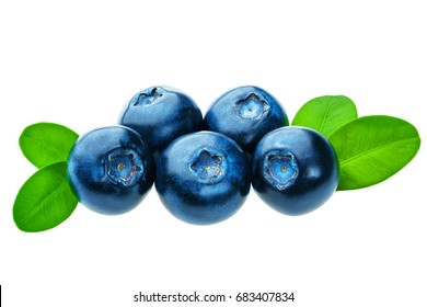 Studio macro photo of blueberry with green leaves isolated on white pattern.