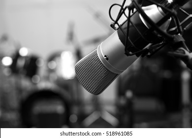 Studio Microphone Close Up In Black And White