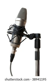 Studio microphone hanging from rubber bands to reduce noise