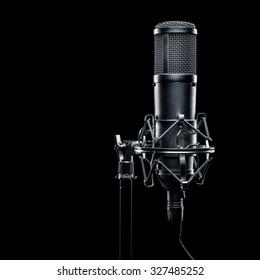 studio microphone on a black background