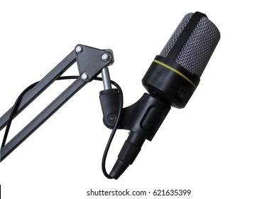 Studio microphone on a modern tripod, very convenient and practical. White background.