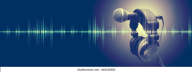 Studio microphone and sound waves. Sound engineering and karaoke background. Music and radio concept