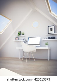 studio on the attic. mock up computer. 3d rendering.
