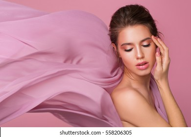 Studio pastel portrait with silk fabric flowing