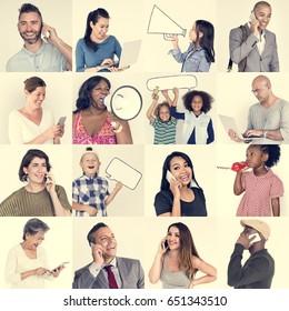 Studio People Collage Communication Concept