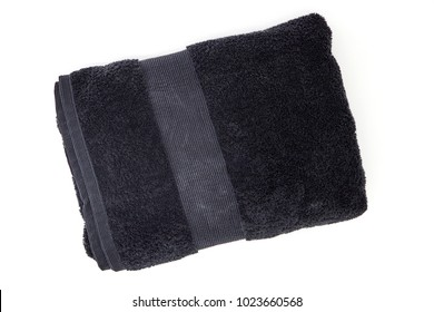 A studio photo of a black bathing towel
