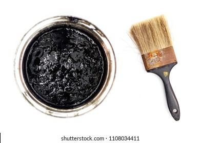 A studio photo of black paint