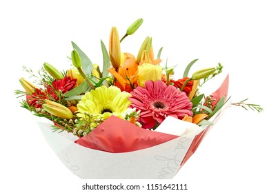 A studio photo of a bouquet of flowers