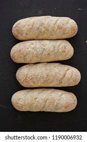 A studio photo of bread rolls
