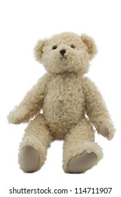 studio photo of brown light bear toy on white background
