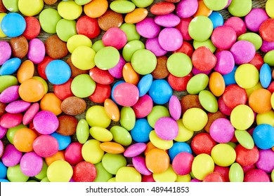 A studio photo of candy coated chocolate