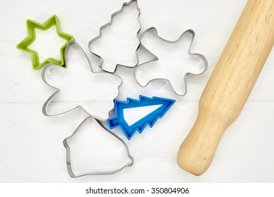 A studio photo of christmas cookie cutters