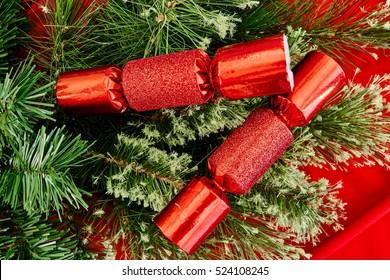 A studio photo of christmas crackers