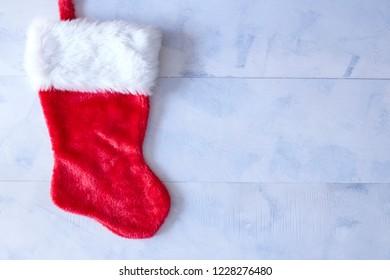 A studio photo of a christmas stocking