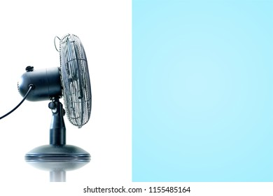 A studio photo of an electric cooling fan