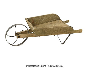 Studio photo of an empty wooden Mini Wheelbarrow Planter on a white background, with space for text.