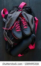 A studio photo of a gym bag