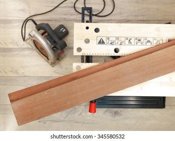 A studio photo of a industrial circular saw