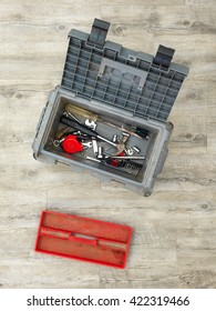 A studio photo of a industrial tool box