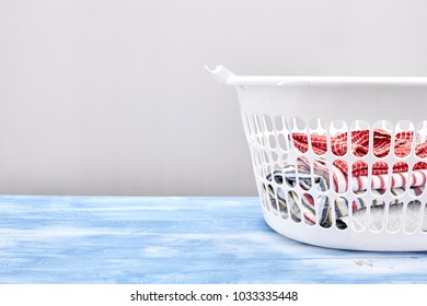 A studio photo of a laundry Basket