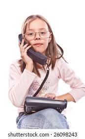studio photo of little girl with telephone