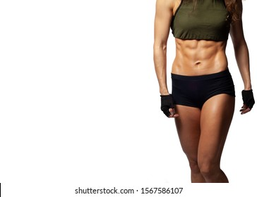 Studio photo of a model on a white background, Fitness healthy lifestyle, Beautiful tummy, embossed abdominal muscles, quickly pump up the abdominal press to a girl at home