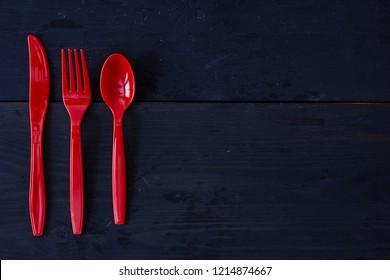 A studio photo of plastic cutlery