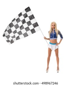 Studio photo of pretty blonde with checkered flag