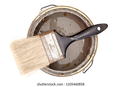 A studio photo of a tin of paint