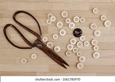 A studio photo of wooden buttons