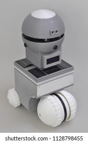 Studio Photograph of fully-assembled 3D-Printed Operational Robot with sensory feedback systems