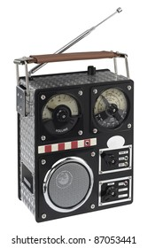 studio photography of a funny styled radio in white back