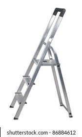 studio photography of a metal ladder isolated on white with clipping path