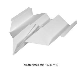 studio photography of a paper plane isolated on white with clipping path