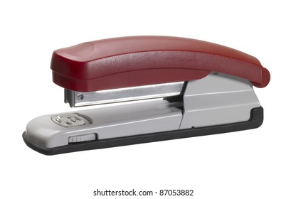 studio photography of a red office stapler isolated on white with clipping path