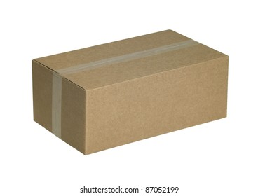 studio photography of a sealed brown carton isolated on white, with clipping path