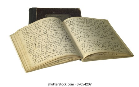 studio photography of two old handwritten yellowed books isolated on white with clipping path